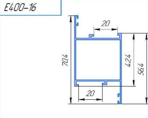 400-16Л, профиль створки дверной, 6м (уп.12м)